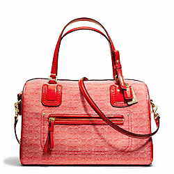 COACH F25047 Poppy Signature C Mini Oxford East/west Satchel BRASS/TOMATO