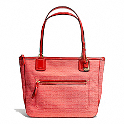 COACH F25051 Poppy Signature C Mini Oxford Small Tote BRASS/TOMATO
