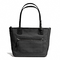 COACH F25051 - POPPY MINI SMALL TOTE IN SIGNATURE OXFORD FABRIC SILVER/BLACK/BLACK