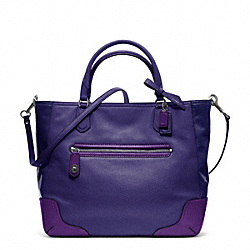 POPPY COLORBLOCK LEATHER SMALL BLAIRE TOTE - f25057 - RL/BRIGHT ORCHID