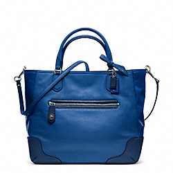 COACH F25057 Poppy Colorblock Leather Small Blaire Tote SILVER/VICTORIAN BLUE