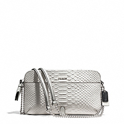 COACH F25061 Poppy Embossed Python Flight Bag Crossbody SILVER/IVORY