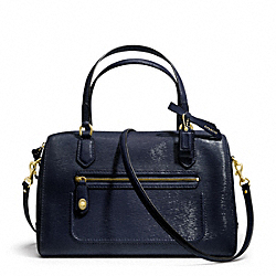 COACH F25062 Poppy Textured Patent Leather East/west Satchel BRASS/NAVY