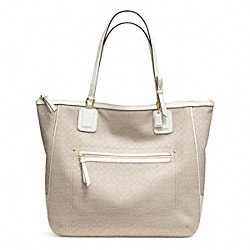 COACH F25078 Poppy Signature C Mini Oxford Tote BRASS/IVORY MOHAIR