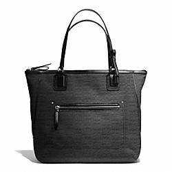COACH F25078 - POPPY SIGNATURE C MINI OXFORD TOTE SILVER/BLACK/BLACK