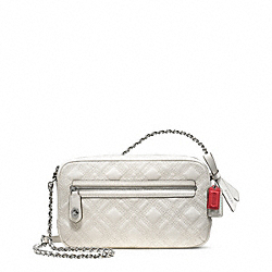 COACH F25079 Poppy Leather Flight Bag Crossbody SILVER/PARCHMENT