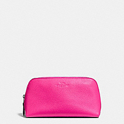 COSMETIC CASE 17 IN PEBBLE LEATHER - f25092 - BLACK ANTIQUE NICKEL/BRIGHT FUCHSIA