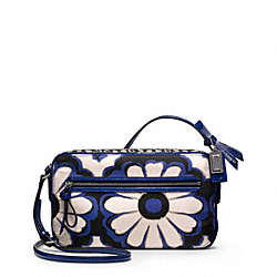 COACH F25121 Poppy Floral Scarf Print Flight Bag SILVER/BLUE/BLACK