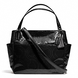 STITCHED PATENT LEATHER BABY BAG TOTE - f25141 - F25141SVBK