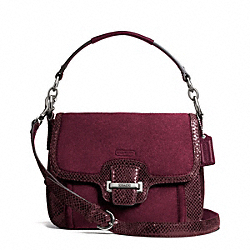 COACH F25147 - TAYLOR SUEDE FLAP CROSSBODY SILVER/BORDEAUX
