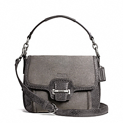 COACH F25147 Taylor Suede Flap Crossbody SILVER/GRAPHITE