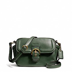 CAMPBELL LEATHER CAMERA BAG - f25150 - BRASS/RACING GREEN