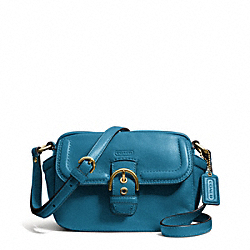 COACH F25150 Campbell Leather Camera Bag BRASS/TEAL