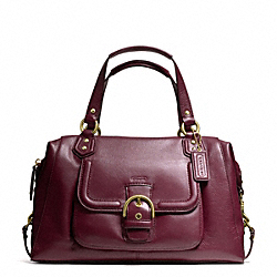 COACH F25151 Campbell Leather Large Satchel BRASS/BORDEAUX