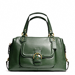 COACH F25151 Campbell Leather Large Satchel BRASS/RACING GREEN