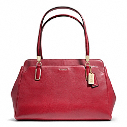 COACH F25161 Madison Leather Kimberly Carryall LIGHT GOLD/SCARLET