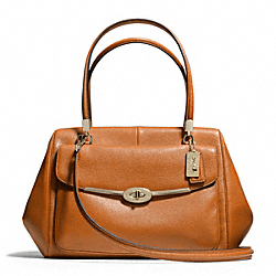 COACH F25166 - MADISON MADELINE LEATHER EAST/WEST SATCHEL LIGHT GOLD/ORANGE SPICE