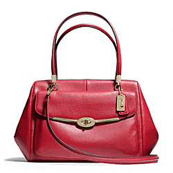 COACH F25166 Madison Madeline East/west Satchel In Leather LIGHT GOLD/SCARLET