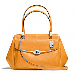 MADISON MADELINE EAST/WEST SATCHEL IN LEATHER - f25166 -  SILVER/MARIGOLD