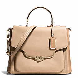 COACH F25167 Madison Spectator Saffiano Sadie Flap Satchel LIGHT GOLD/CAMEL MULTICOLOR