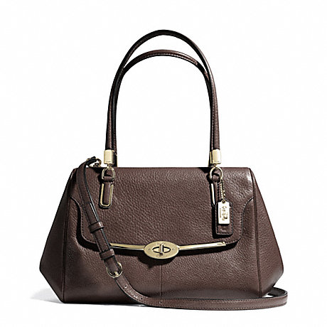 COACH F25169 MADISON SMALL LEATHER MADELINE EAST/WEST SATCHEL LIGHT-GOLD/MIDNIGHT-OAK