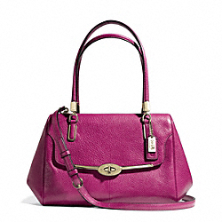 COACH F25169 Madison Small Leather Madeline East/west Satchel LIGHT GOLD/CRANBERRY