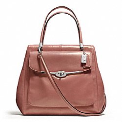 COACH F25175 - MADISON METALLIC LEATHER NORTH/SOUTH SATCHEL SILVER/ROSE GOLD