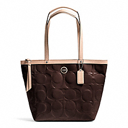 COACH F25187 - SIGNATURE STRIPE EMBOSSED PATENT TOTE SILVER/BROWN/TAN