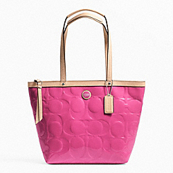COACH F25187 Signature Stripe Embossed Patent Tote