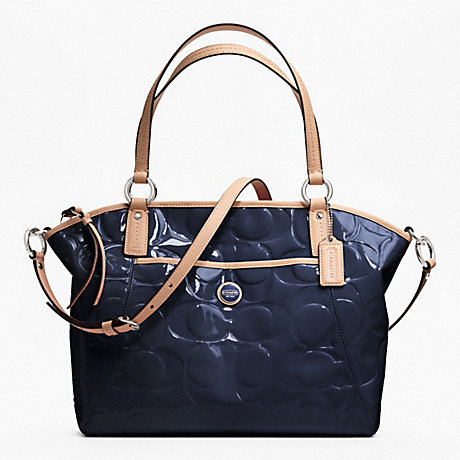 COACH f25188 SIGNATURE STRIPE EMBOSSED PATENT POCKET TOTE SILVER/NAVY/TAN