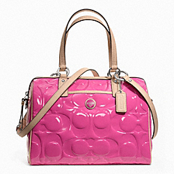 COACH F25189 - SIGNATURE STRIPE EMBOSSED PATENT SATCHEL ONE-COLOR