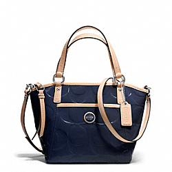 COACH F25190 - SIGNATURE STRIPE EMBOSSED PATENT SMALL POCKET TOTE SILVER/NAVY/TAN
