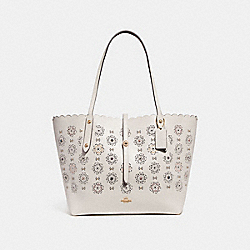 COACH F25195 Market Tote With Cut Out Tea Rose CHALK MULTI/LIGHT GOLD