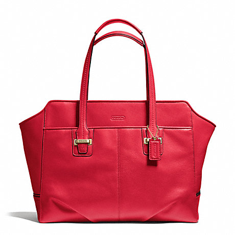 COACH f25205 TAYLOR LEATHER ALEXIS CARRYALL BRASS/CORAL RED