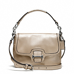 TAYLOR LEATHER FLAP CROSSBODY - f25206 - SILVER/CHAMPAGNE