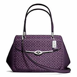 COACH F25212 - MADISON OP ART NEEDLEPOINT MADELINE EAST/WEST SATCHEL SILVER/BLACK VIOLET