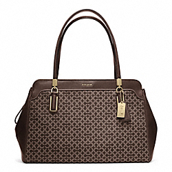 COACH F25213 - MADISON OP ART NEEDLEPOINT KIMBERLY CARRYALL LIGHT GOLD/MAHOGANY