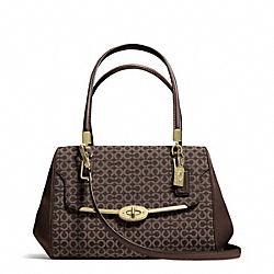 COACH F25215 Madison Needlepoint Op Art Small Madeline East/west Satchel LIGHT GOLD/MAHOGANY