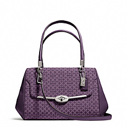COACH F25215 Madison Needlepoint Op Art Small Madeline East/west Satchel SILVER/BLACK VIOLET
