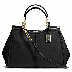 COACH MADISON TEXTURED LEATHER  CAROLINE SATCHEL - LIGHT GOLD/BLACK - F25245
