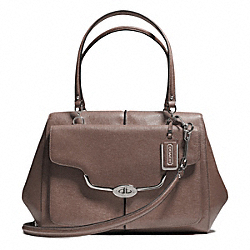 COACH F25246 - MADISON TEXTURED LEATHER LARGE MADELINE EAST/WEST SATCHEL SILVER/ASH