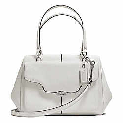 COACH F25246 - MADISON TEXTURED LEATHER LARGE MADELINE EAST/WEST SATCHEL SILVER/PARCHMENT
