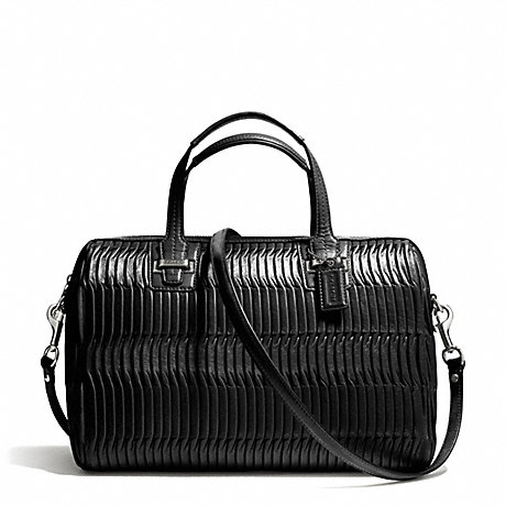 TAYLOR GATHERED LEATHER SATCHEL - COACH F25250 - SILVER/BLACK