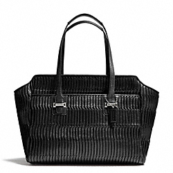 COACH F25252 Taylor Gathered Leather Alexis Carryall SILVER/BLACK