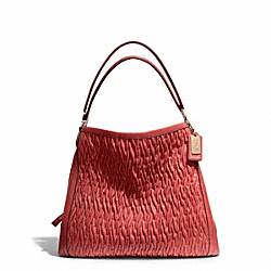 COACH F25260 Madison Gathered Twist Leather Phoebe Shoulder Bag LIGHT GOLD/VERMILLION