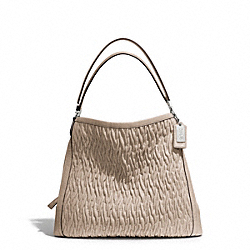 COACH F25260 Madison Gathered Twist Leather Phoebe Shoulder Bag SILVER/PUTTY