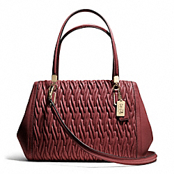 COACH F25265 Madison Gathered Twist Leather Madeline East/west Satchel LIGHT GOLD/BRICK RED