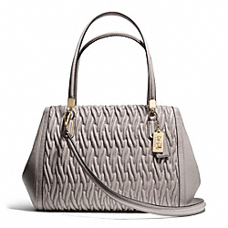 COACH F25265 - MADISON MADELINE EAST/WEST SATCHEL IN GATHERED TWIST LEATHER  LIGHT GOLD/GREY BIRCH