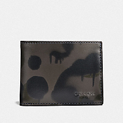 COACH F25273 - BOXED SLIM BILLFOLD WALLET WITH WILD BEAST PRINT CHARCOAL
