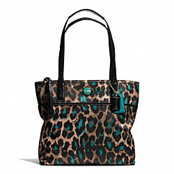 COACH F25282 - SIGNATURE STRIPE OCELOT PRINT TOTE BRASS/JADE MULTICOLOR